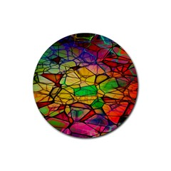 Abstract Squares Triangle Polygon Rubber Coaster (Round)