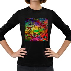 Abstract Squares Triangle Polygon Women s Long Sleeve Dark T-Shirts