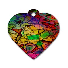 Abstract Squares Triangle Polygon Dog Tag Heart (Two Sides)