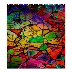 Abstract Squares Triangle Polygon Shower Curtain 66  x 72  (Large)