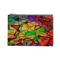 Abstract Squares Triangle Polygon Cosmetic Bag (Large)