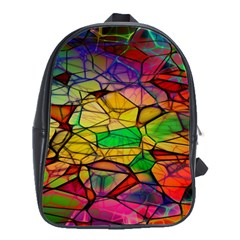Abstract Squares Triangle Polygon School Bags(Large)