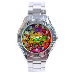 Abstract Squares Triangle Polygon Stainless Steel Analogue Watch