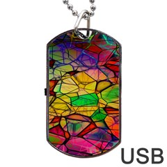 Abstract Squares Triangle Polygon Dog Tag USB Flash (Two Sides)