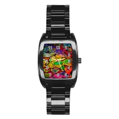 Abstract Squares Triangle Polygon Stainless Steel Barrel Watch