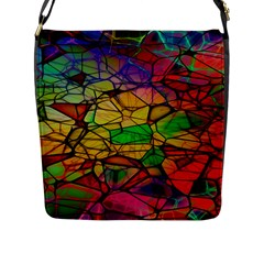 Abstract Squares Triangle Polygon Flap Messenger Bag (L)