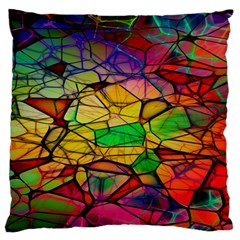 Abstract Squares Triangle Polygon Large Flano Cushion Case (One Side)