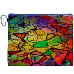Abstract Squares Triangle Polygon Canvas Cosmetic Bag (XXXL)