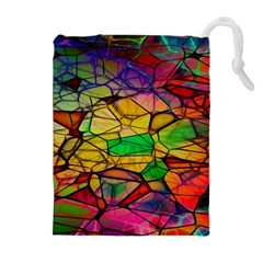 Abstract Squares Triangle Polygon Drawstring Pouches (Extra Large)