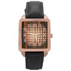 Abstract Texture Background Pattern Rose Gold Leather Watch