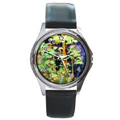 Abstract Trees Flowers Landscape Round Metal Watch
