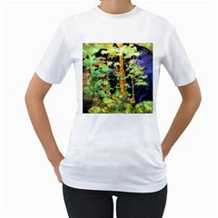 Abstract Trees Flowers Landscape Women s T-Shirt (White) (Two Sided)