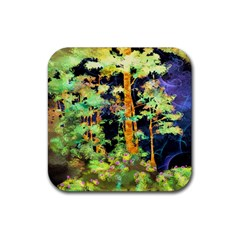 Abstract Trees Flowers Landscape Rubber Square Coaster (4 pack)
