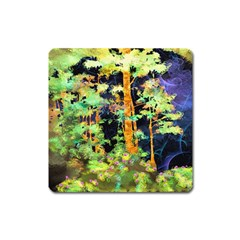 Abstract Trees Flowers Landscape Square Magnet
