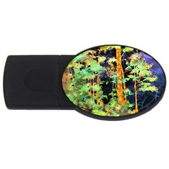 Abstract Trees Flowers Landscape USB Flash Drive Oval (2 GB)