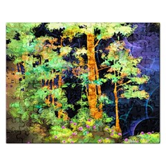 Abstract Trees Flowers Landscape Rectangular Jigsaw Puzzl