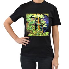 Abstract Trees Flowers Landscape Women s T-Shirt (Black) (Two Sided)