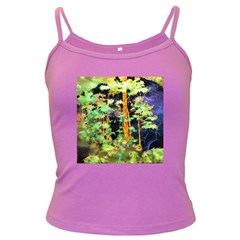 Abstract Trees Flowers Landscape Dark Spaghetti Tank