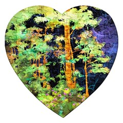 Abstract Trees Flowers Landscape Jigsaw Puzzle (Heart)