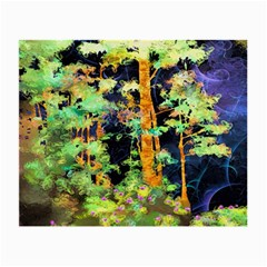 Abstract Trees Flowers Landscape Small Glasses Cloth