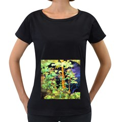 Abstract Trees Flowers Landscape Women s Loose-Fit T-Shirt (Black)