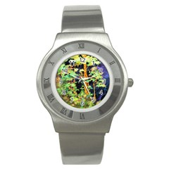 Abstract Trees Flowers Landscape Stainless Steel Watch