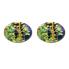 Abstract Trees Flowers Landscape Cufflinks (Oval)