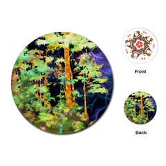 Abstract Trees Flowers Landscape Playing Cards (round)
