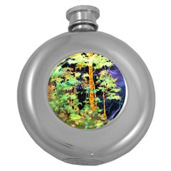 Abstract Trees Flowers Landscape Round Hip Flask (5 oz)