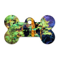 Abstract Trees Flowers Landscape Dog Tag Bone (Two Sides)