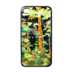 Abstract Trees Flowers Landscape Apple Iphone 4 Case (black)