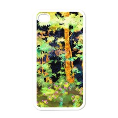 Abstract Trees Flowers Landscape Apple iPhone 4 Case (White)