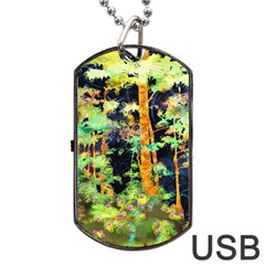 Abstract Trees Flowers Landscape Dog Tag USB Flash (One Side)