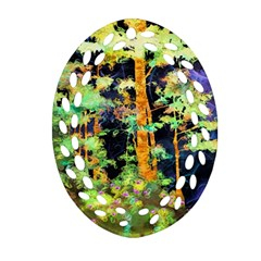Abstract Trees Flowers Landscape Oval Filigree Ornament (two Sides)