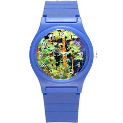Abstract Trees Flowers Landscape Round Plastic Sport Watch (S)