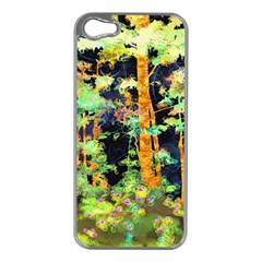 Abstract Trees Flowers Landscape Apple iPhone 5 Case (Silver)