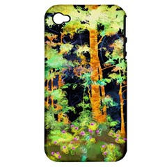 Abstract Trees Flowers Landscape Apple iPhone 4/4S Hardshell Case (PC+Silicone)