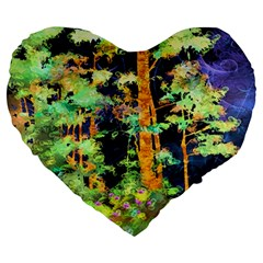 Abstract Trees Flowers Landscape Large 19  Premium Heart Shape Cushions
