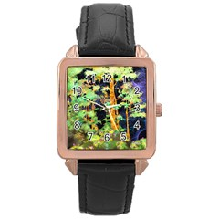 Abstract Trees Flowers Landscape Rose Gold Leather Watch