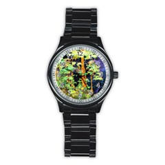 Abstract Trees Flowers Landscape Stainless Steel Round Watch