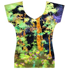 Abstract Trees Flowers Landscape Women s V-Neck Cap Sleeve Top