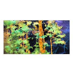 Abstract Trees Flowers Landscape Satin Shawl