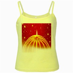 Advent Candle Star Christmas Yellow Spaghetti Tank