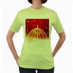 Advent Candle Star Christmas Women s Green T-Shirt