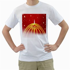 Advent Candle Star Christmas Men s T-Shirt (White) (Two Sided)