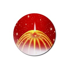 Advent Candle Star Christmas Rubber Coaster (Round)