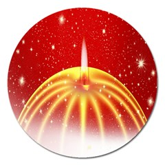 Advent Candle Star Christmas Magnet 5  (round)