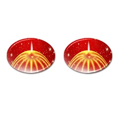 Advent Candle Star Christmas Cufflinks (oval)
