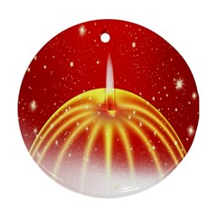 Advent Candle Star Christmas Round Ornament (Two Sides)