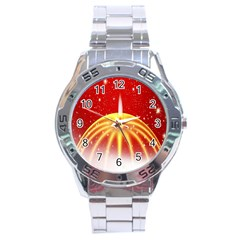Advent Candle Star Christmas Stainless Steel Analogue Watch
